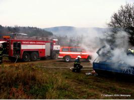 Požár velkoobjemového kontejneru V Habřinách