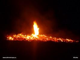 Požár na poli v Habřinách
