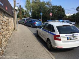 Dopravní nehoda OA x motocykl ulice Vrážská